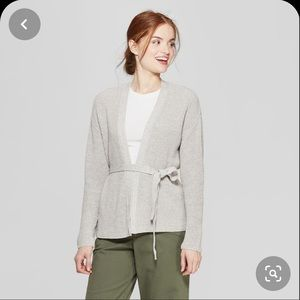 A new day gray belted cardigan